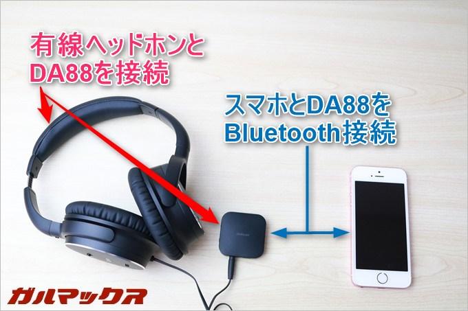 有線接続のヘッドホンをDA88に接続。スマホとDA88はBluetoothで接続しているのでスマホの音がDA88を介して聴こえます