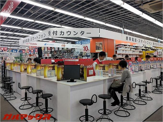 ビックカメラ名古屋駅西店では即時SIM発行カウンターも併設されていました。