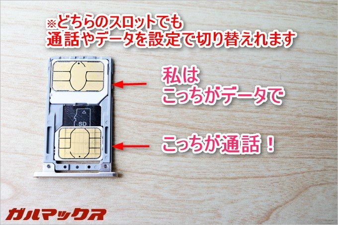 ZenFone3のスロットはMicroSIMとNanoSIMスロットが各一枚入ります