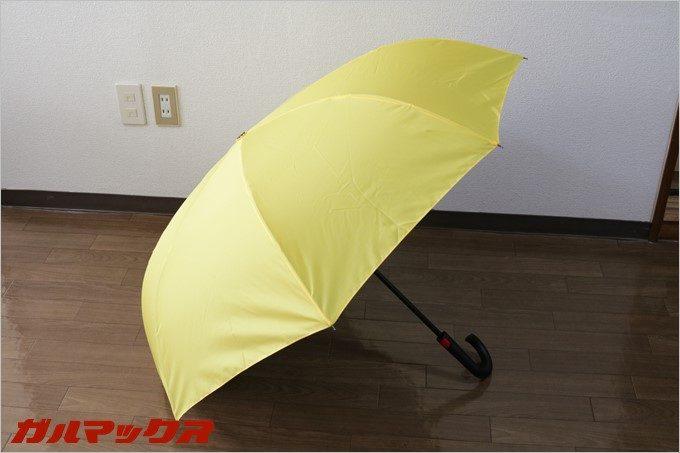 開くと形状はいつもの傘という印象。