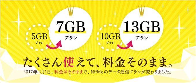 NifMoが容量増加でお値段据え置きを発表!