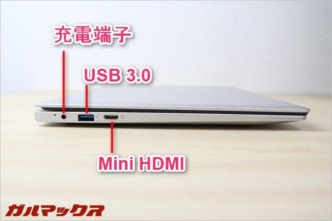 Jumper Ezbook 3の左側面にも端子が備わっています。USBが左右に有るので使い勝手が良いですね。