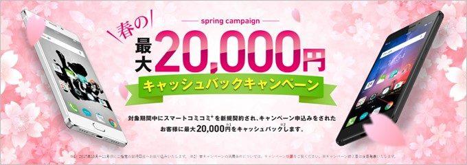 スマートコミコミ+利用者は最大2万円のキャッシュバックが貰えるキャンペーンも開催中