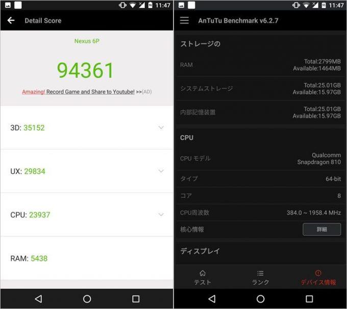 Nexus6P実機AnTuTuベンチマークスコアは総合が94361点、3D性能が35152点。