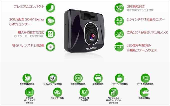 GoSafe S30SEはドライブレコーダーとしての機能を網羅しています。