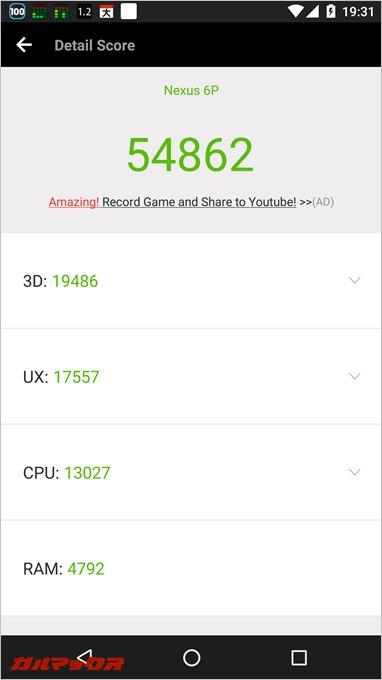 Nexus6pの実機AnTuTuベンチマークスコアは54862