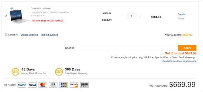 Xiaomi Air 13 Laptopは今だけ669.99ドル。