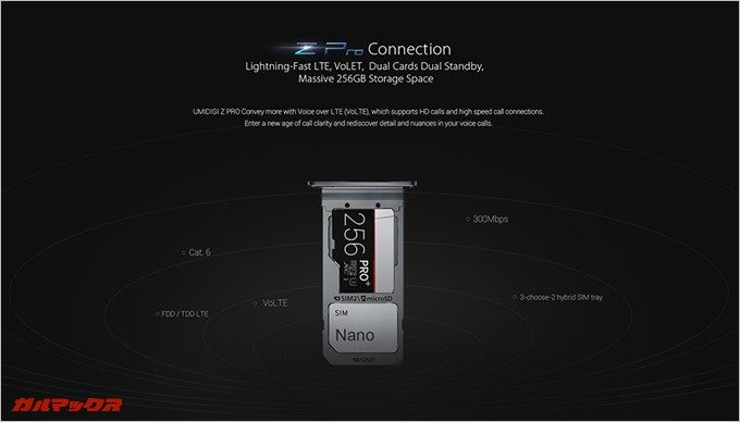 UMIDIGI Z PROは最大256GBのMicroSDが使えます。