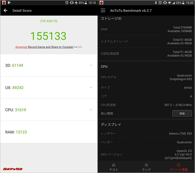 AXON 7(Android 7.1.1)実機AnTuTuベンチマークスコアは総合が155133点、3D性能が61149点。