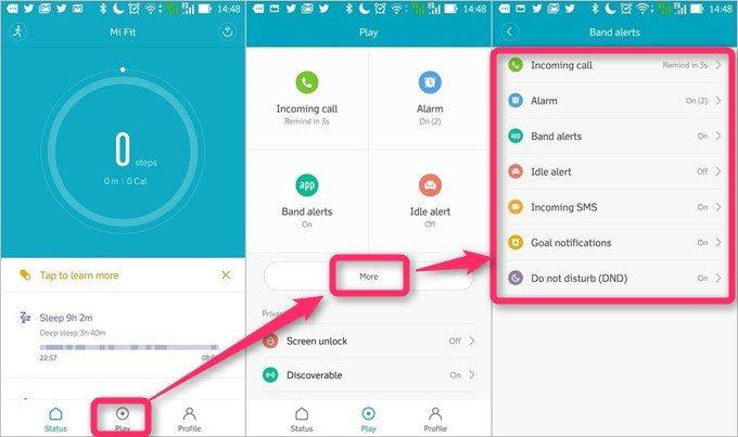 アプリ画面の下部に表示されているPlayを押すと便利機能の設定画面へ移動できます。