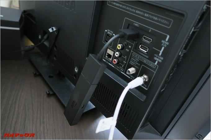 HDMIの延長コードを利用した様子