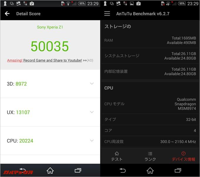 Xperia Z1実機AnTuTuベンチマークスコアは総合が50035点、3D性能が8972点。