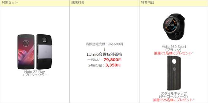 Moto Z2 Playとプロジェクターのセットで価格は79,800円