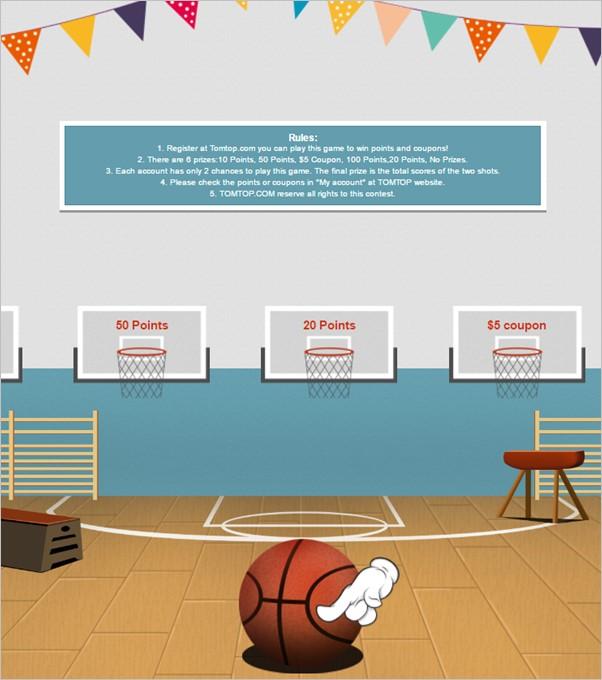 バスケットゴールが複数スライドしており、入ったゴールによって当たりハズレがある