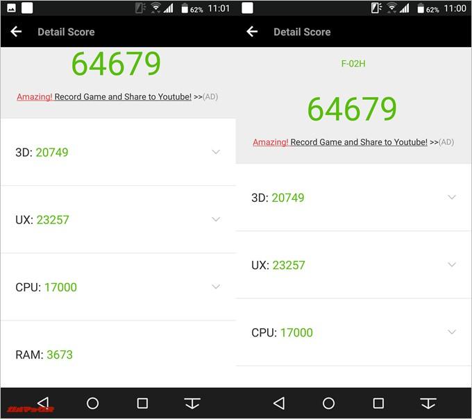 Arrows NX F-02H(Android 7.1.1)実機AnTuTuベンチマークスコアは総合が64679点、3D性能が20749点。