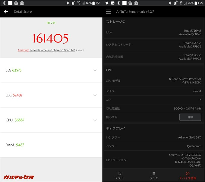 HTC U11-HTV33の2台目実機AnTuTuベンチマークスコアは総合が161405点、3D性能が62573点。