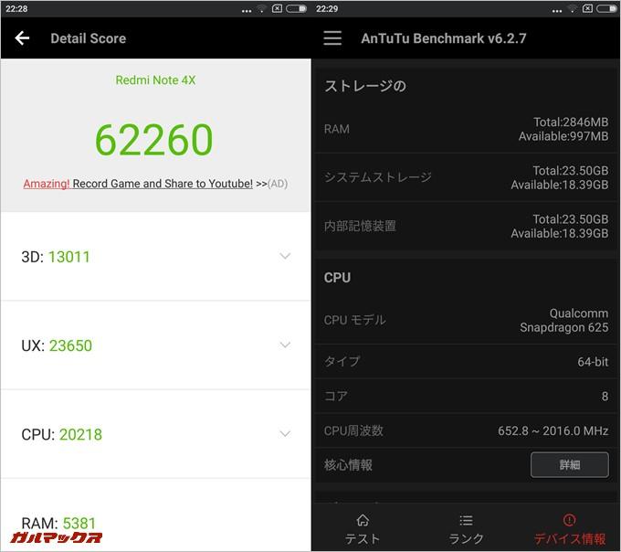 Xiaomi Redmi Note 4X(Android 7.0/MIUI8.3)実機AnTuTuベンチマークスコアは総合が62260点、3D性能が13011点。