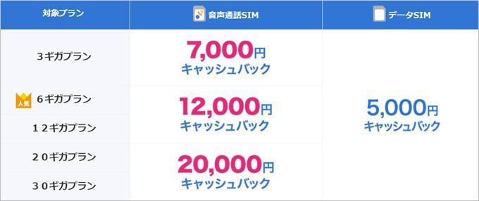 音声通話は申し込みデータ容量が増えるとキャッシュバック額が増額、データSIMは一律5,000円キャッシュバック