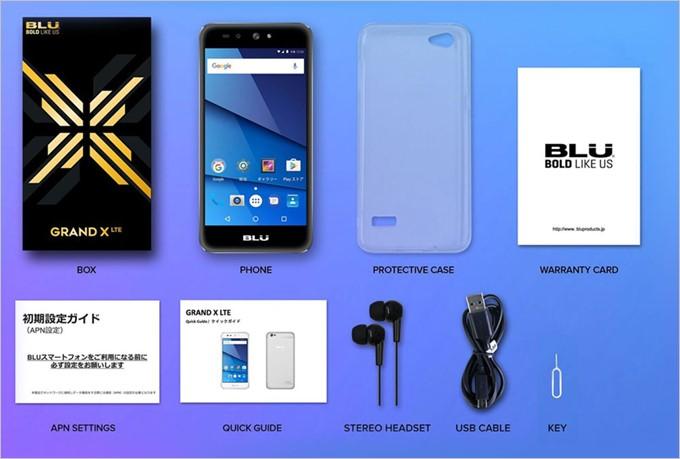BLU GRAND X LTEの同梱物には専用カバーやイヤホンまで付属する