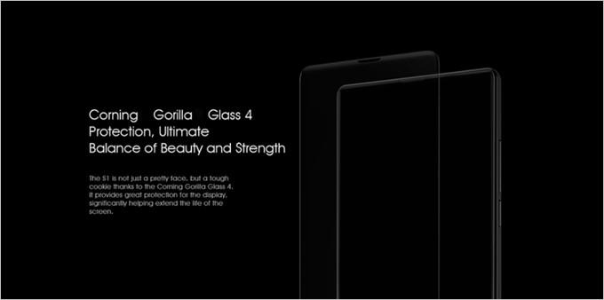 3辺ベゼルレスでの衝撃から画面割れを守る為に非常に硬いgorilla Glass 4を採用しているBluboo S1