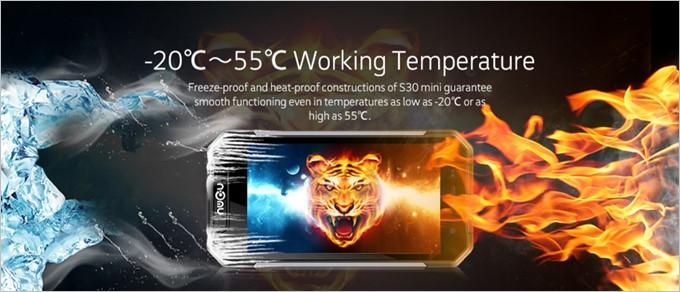 NOMU S30 Miniは-22℃から55℃まで正常に動作する耐温度性能を有している