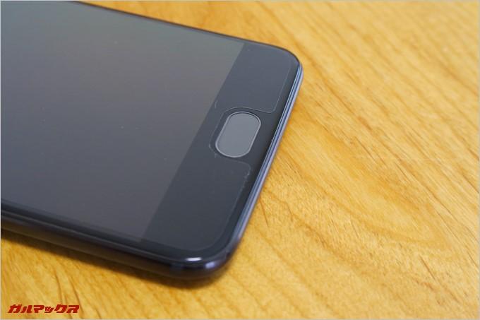 ホームボタン兼指紋認証ユニットは静電タッチ式で物理ボタンではない