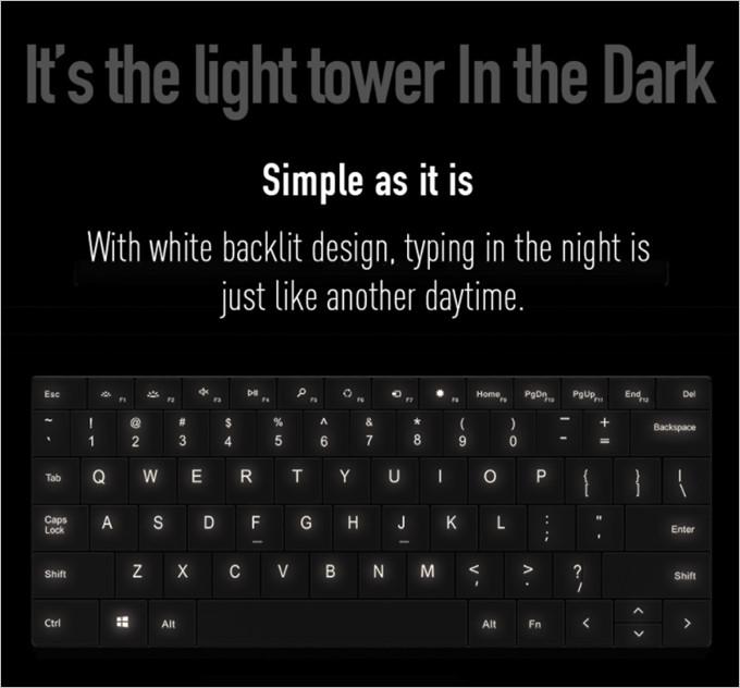 高品質なバックライト付きキーボード