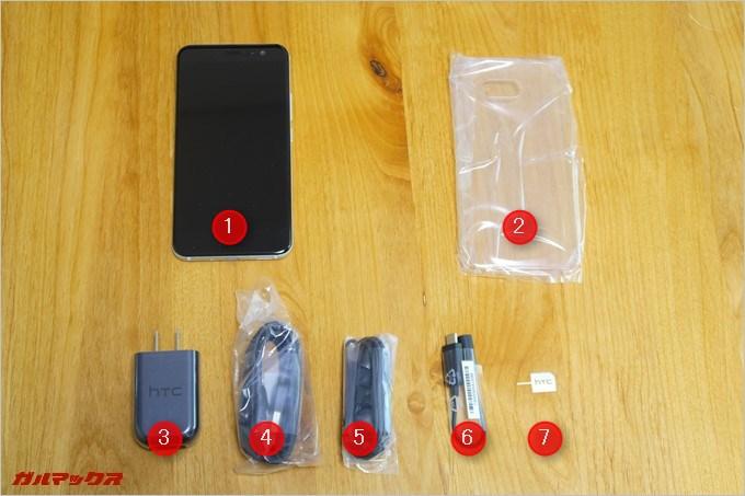 HTC U11の同梱物を並べてみた