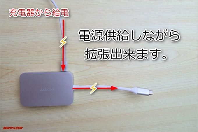 DC30にノートパソコンの充電からケーブルを差し込むと充電も同時に出来ちゃいます