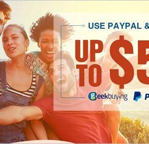 geekbuying、PayPal支払いで最大50ドルも割引するキャンペーンを開催中!
