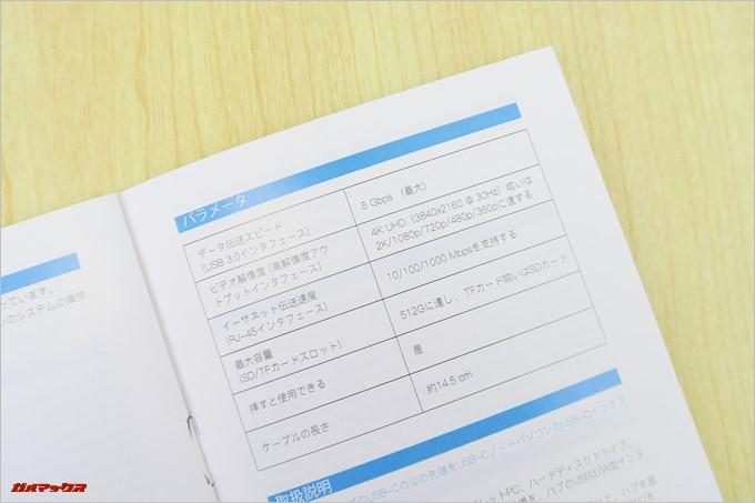 dodocoolのDC46に同梱されている取扱説明書は日本語です。