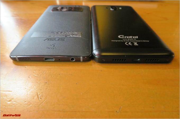 Zenfone ARと厚さを比較しましたが、流石にGretel「GT6000」は分厚いです