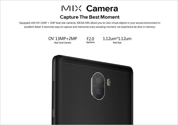 LEAGOO KIICAA MIXはデュアルカメラを搭載しています。