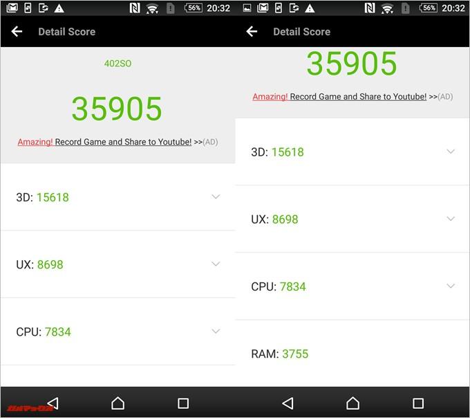 Xperia Z4(Android 6.0)発熱時の実機AnTuTuベンチマークスコアは総合が35905点、3D性能が15618点。