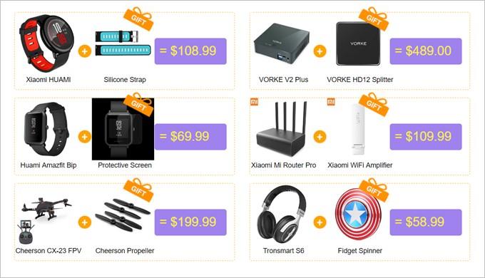 Geekbuyingの割引クーポンばら撒きページには1つ製品を購入するとアクセサリーが無料でもらえる!