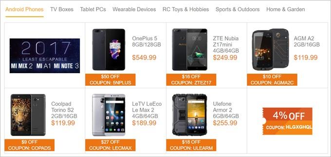 Geekbuyingのクーポンばら撒きページには人気Androidスマホの割引クーポンも!