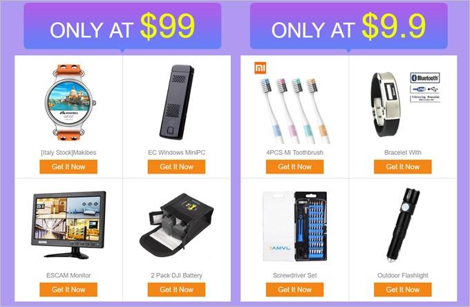 Geekbuyingに割引クーポンばら撒きページには99.99ドルや9.9ドル均一セール品も掲載!