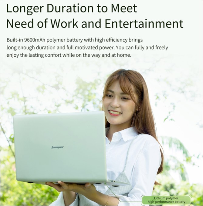 Jumper EZbook 3SEのバッテリー容量は9600mAhで容量が多いです