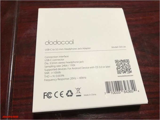 USB-Cオーディオ変換アダプター「DA134」の裏側には仕様が書いていました