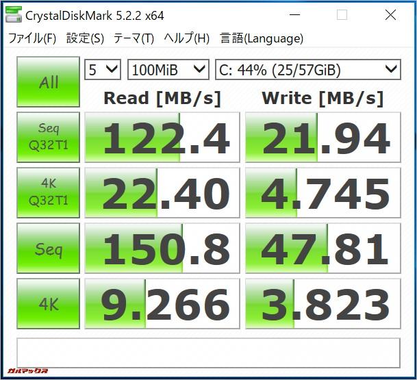 CHUWI LapBookの記録媒体はeMMCを採用しているのでHDDよりも速度が大幅に早いです