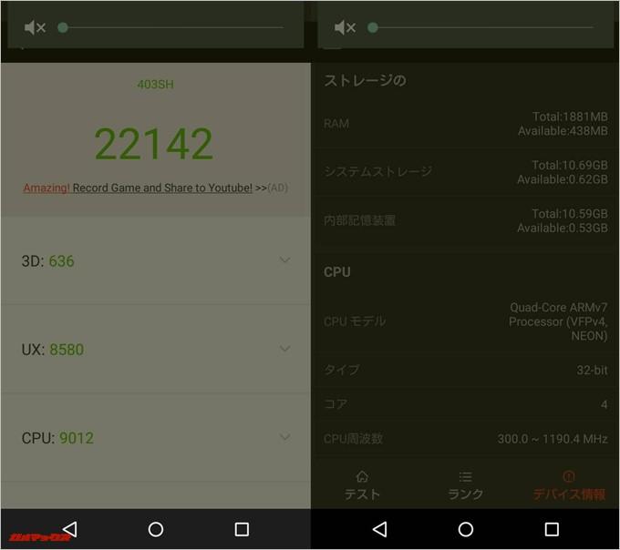 AQUOS CRYSTAL Y2 (Android 5.0.2)実機AnTuTuベンチマークスコアは総合が22142点、3D性能が636点。