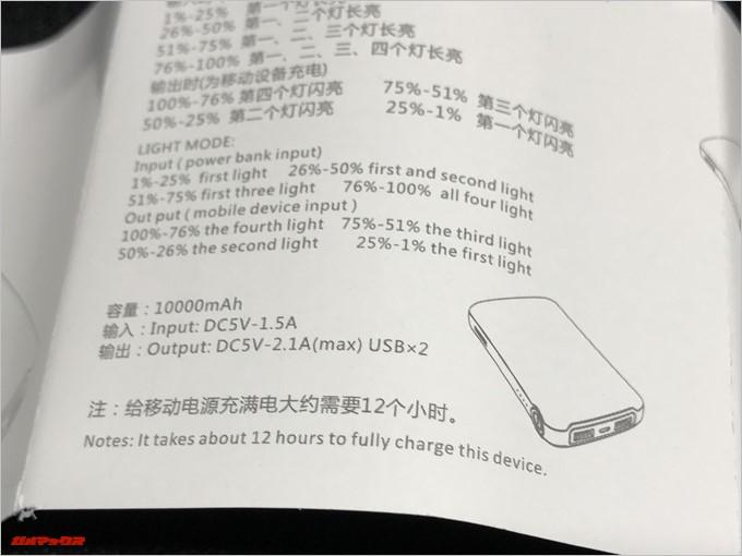 REMAX COOZYの取扱説明書は英語ですがモバイルバッテリーなので使い方が分からないということも無いはず