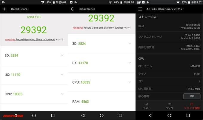 BLU GRAND X LTE(Android 7.0)実機AnTuTuベンチマークスコアは総合が29392点、3D性能が2824点。