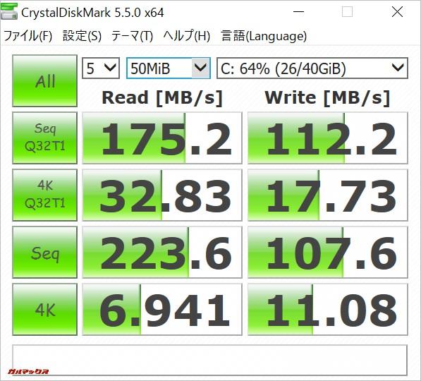 Chuwi LapBook AIRのストレージ速度