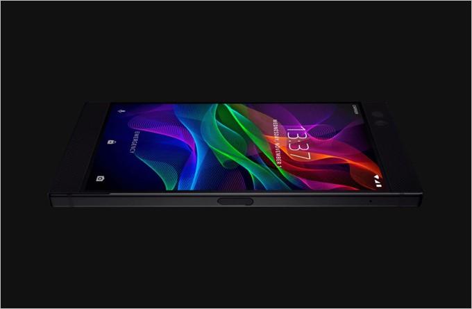 Razer Phoneの画面右側面にはXperiaのような指紋ユニットが埋め込まれた電源ボタンが備わっています