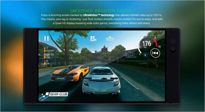 Razer PhoneはフルHD以上の高解像度に120Hz駆動の液晶を備えています