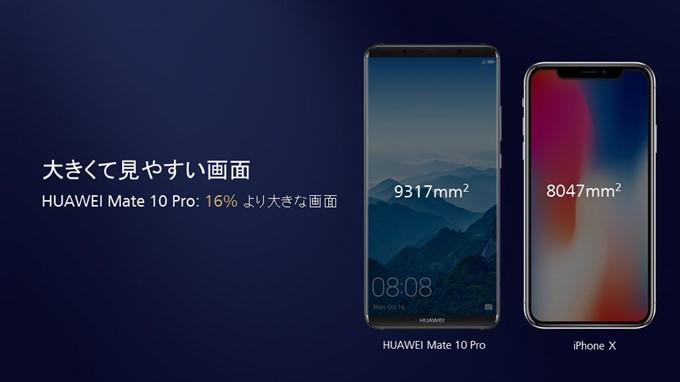 HUAWEI Mate 10 ProはiPhoneよりも大きくて見やすい画面サイズ