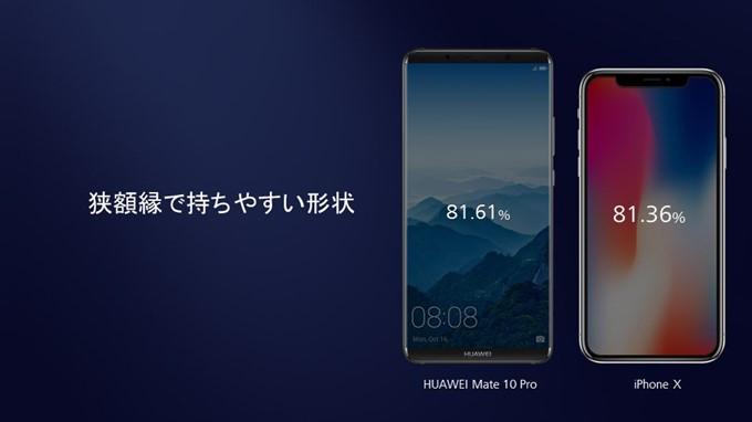 HUAWEI Mate 10 Proはフチが狭くて持ちやすい形状