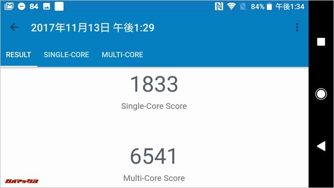 Geekbench4のスコアはシングルコアが1833、マルチコアが6541でした
