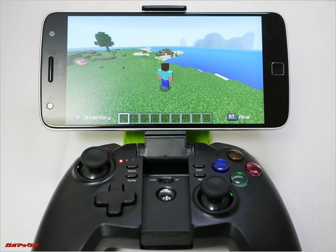 Tronsmart Mars G02はゲーム側がコントローラーに対応している場合、通常は表示されるタッチ操作パネルが非常時になり視野製の良い環境でプレイできます。